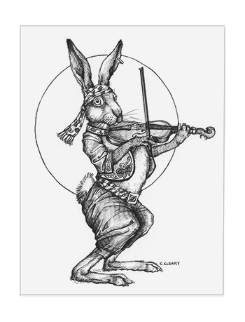 Jackrabbit Fiddler pen illustration by Catherine Cleary