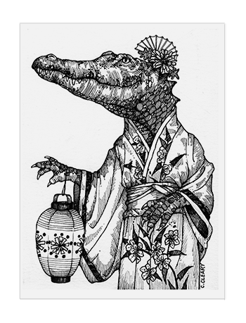Crocodile in Kimono - illustration by Catherine Cleary